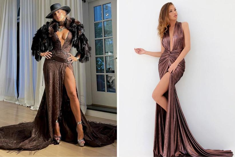 vestido de fiesta largo en color marrión con abertura lateral hasta el muslo y escote pronunciado, ideal para un look de invitada muy sexy
