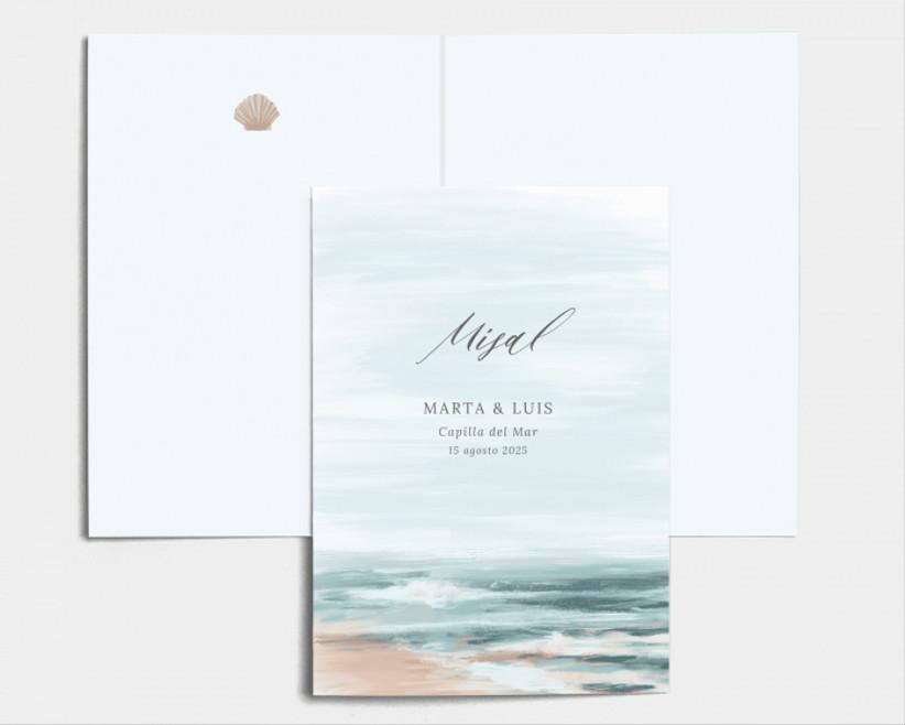 misal de boda, de la tienda online de Bodas.net, con una acuarela del mar ideal para bodas en la playa