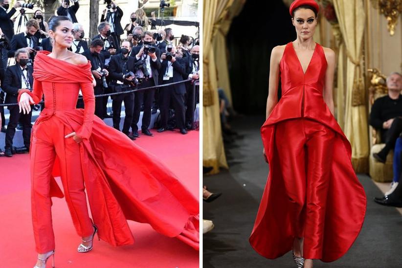 conjunto de dos piezas en rojo pasión con cuerpo ajustado y pantalón slim