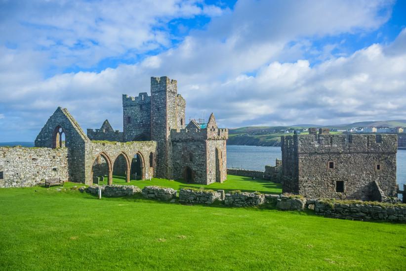 Luna de miel o viaje a la isla de Man, Peel, Castillo de Peel en la isla de St. Patrick