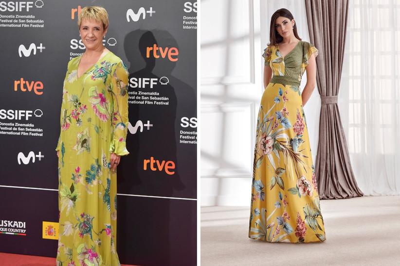 vestido de fiesta largo con estampado de flores tropical, ideal para un look de invitada de boda bohemio