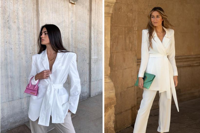 traje de invitada con blazar y pantalones en tonos blancos para ir muy elegante