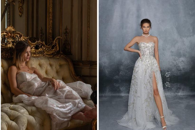 vestido de fiesta blanco marfil con escote corazón