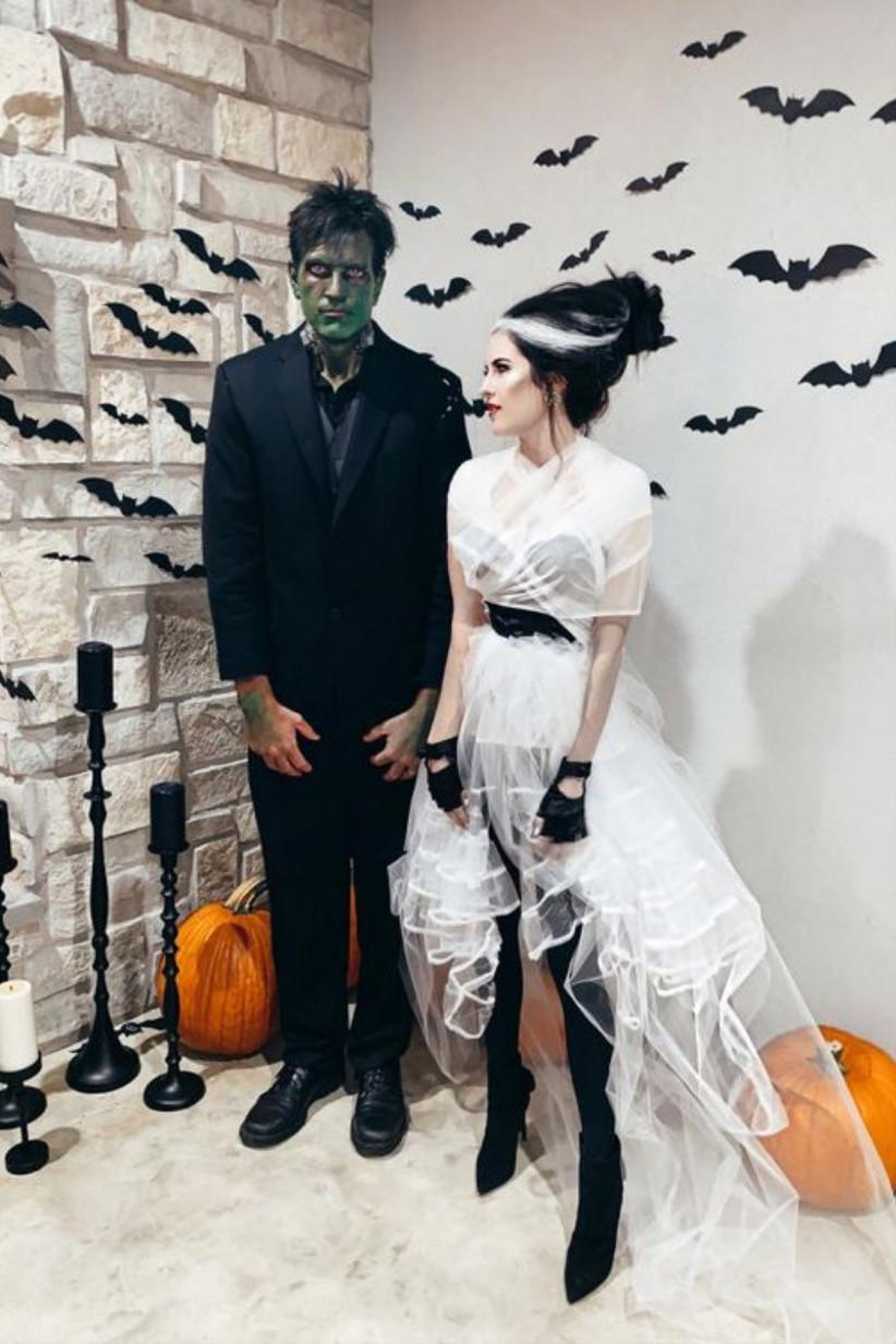 disfraz de Frankenstein y la novia de Frankesnstein, ideal para celebrar el día de halloween