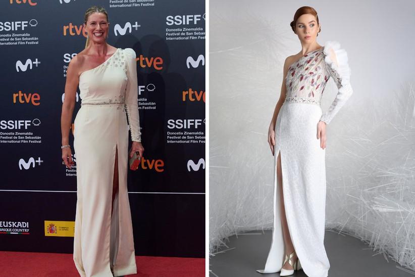 vestido de fiesta largo de color blanco con abertura lateral, escote asimétrico y pedrería, ideal para un look de invitada de boda