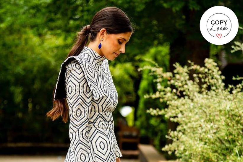 vestido de invitada largo estampado geométrico Inés Domecq 2021
