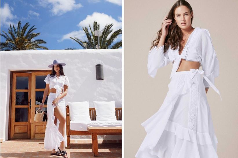 conjunto de dos piezas total white para ir de invitada a una boda de estilo ibicenco