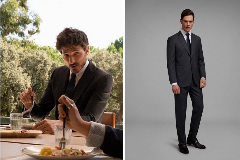traje de novio clásico oscuro de líneas sencillas