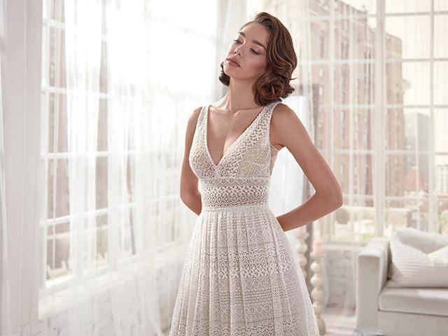 De moda: 25 vestidos de novia con encajes geométricos