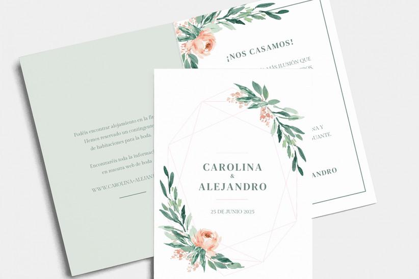 Invitación de boda con motivos florales y geométricos