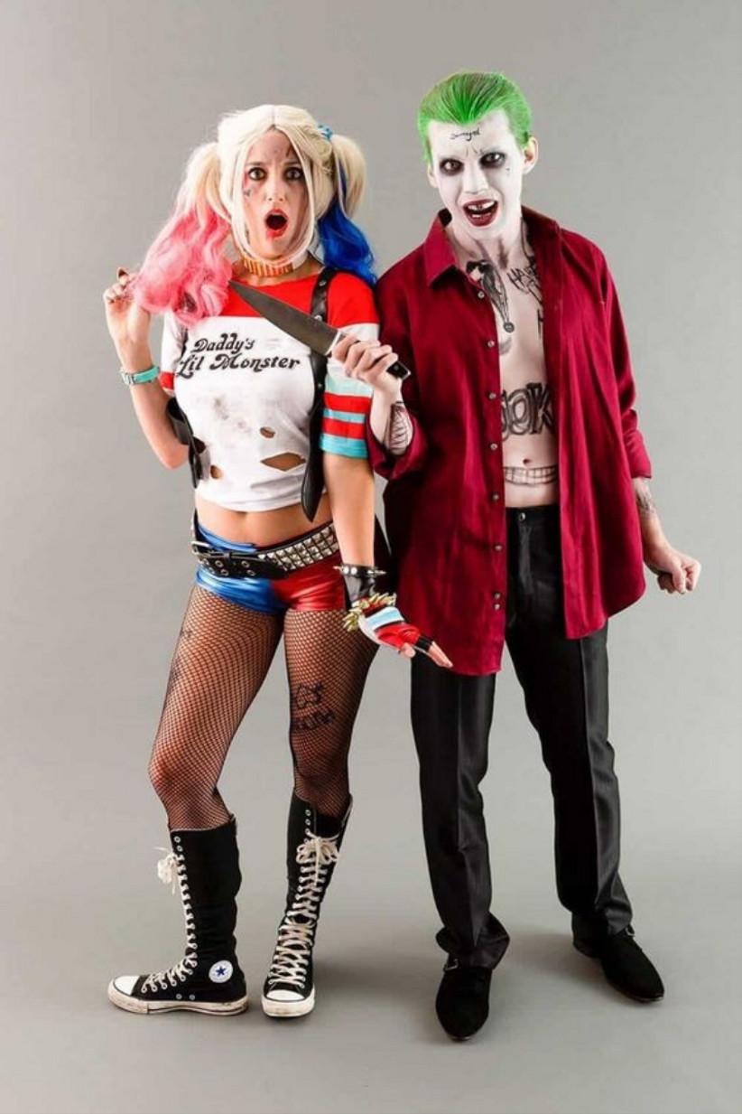 disfraz de Halloween para parejas del Joker y Harley Quinn