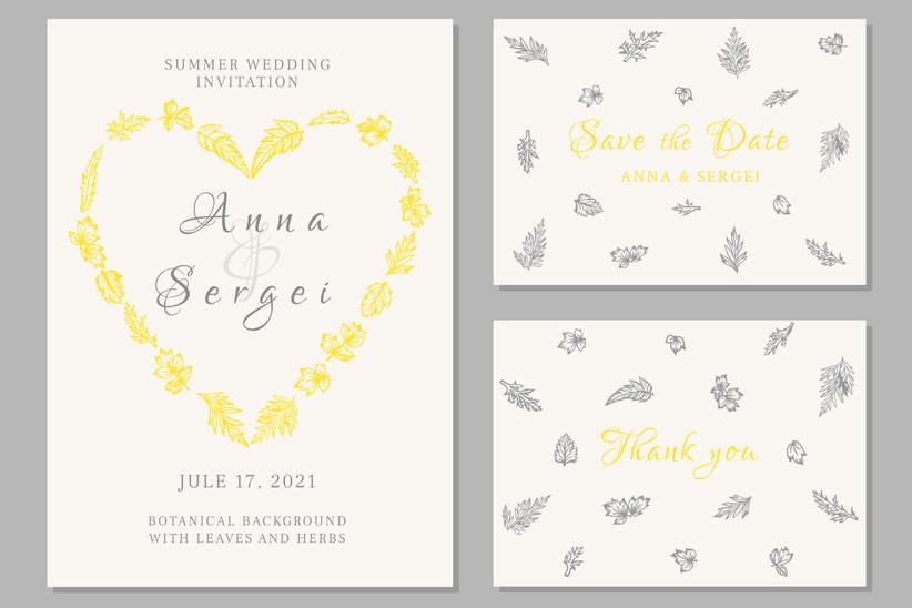 Invitación de boda de verano en el Color del Año según el Pantone Color Institute