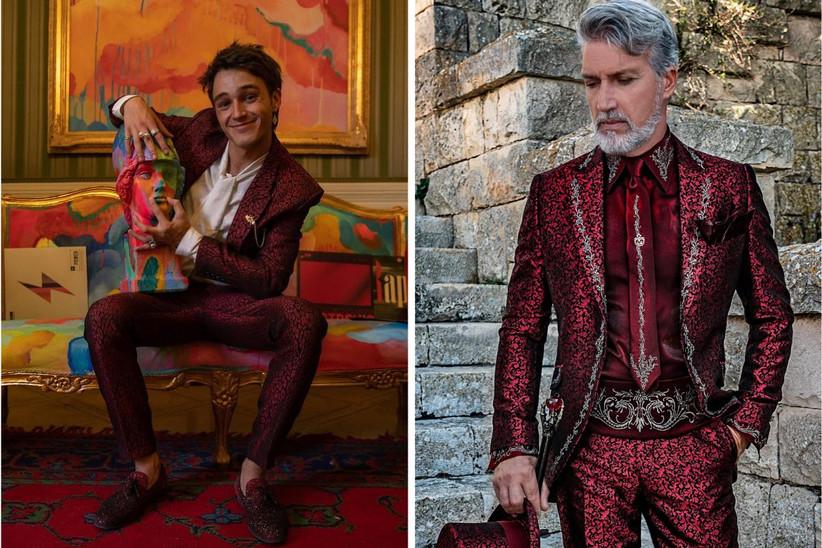 traje de novio rojo con animal print para bodas temáticas