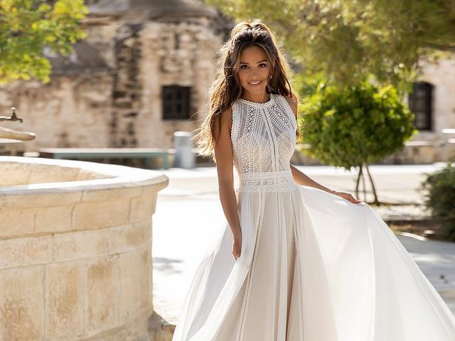 De moda: 25 vestidos con encaje geométrico para deslumbrar en tu paso por el altar