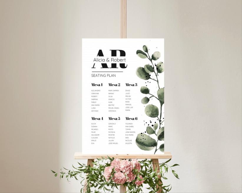 póster del seating plan, de la tienda online de Bodas.net, con diseño de hojas verdes