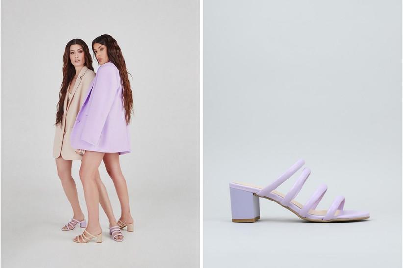 zapatos lilas Dulceida x krack con tiras