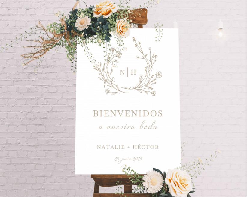 diseño del póster de bienvenida a la boda, de la tienda online de Bodas.net, con motivos florales y una estética minimalista