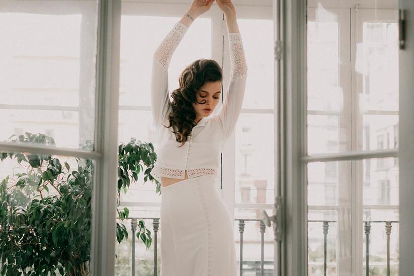 Vestido de novia de dos piezas, modelos Hamlet & Ofelia, de Otaduy 2021