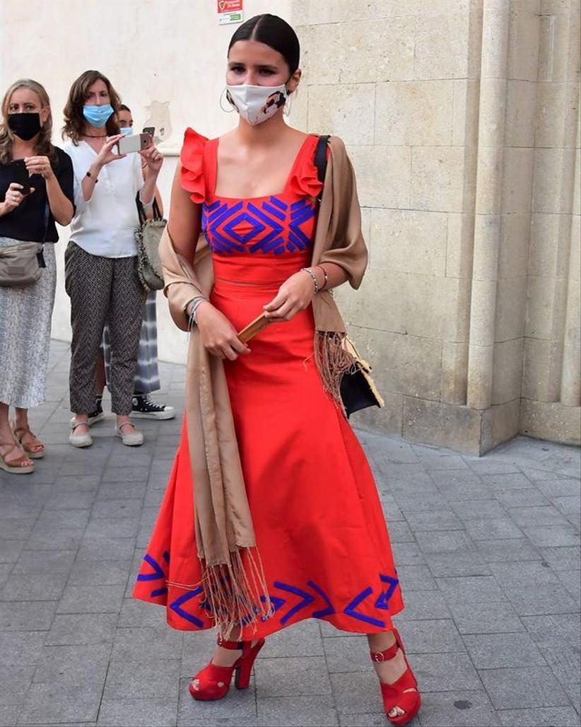 conjunto étnico dos piezas rojo Inés Domecq 2021