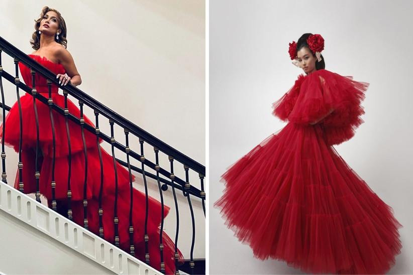 vestido de fiesta rojo con capas de tul y una larga cola, ideal para un look de invitada de boda sofisticado y fantasioso