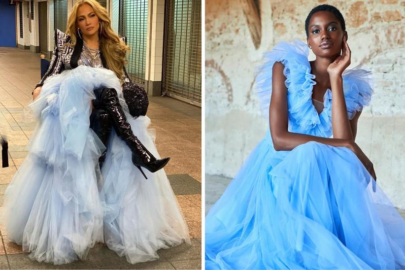 vestido de fiesta princesa con capas de cul, de color azul celeste, ideal para un look de invitada de boda ensoñador