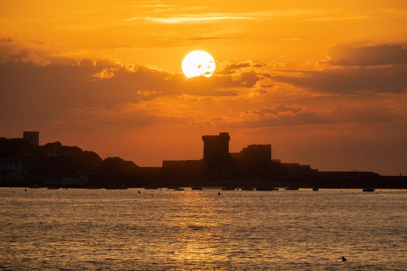 País Vasco francés, San Juan de Luz, puesta de sol