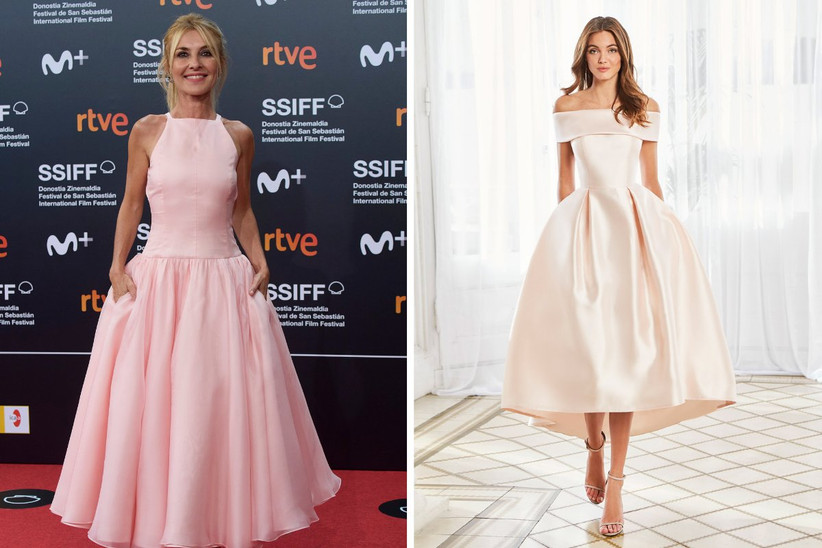 vestido de fiesta midi en rosa empolvado con falda al vuelo y escote envolvente, ideal para un look de invitada