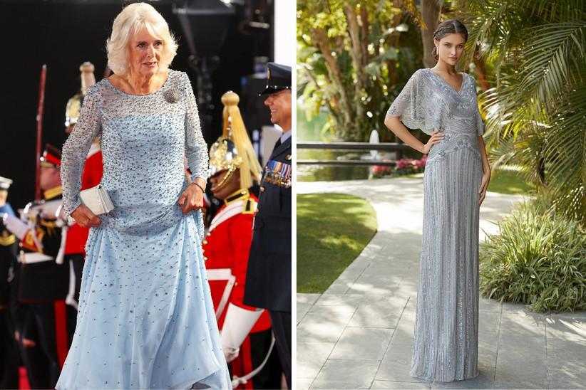 vestido de fiesta largo con pedrería a lo largo del cuerpo en azul cielo y plateado, ideal para un look de invitada elegante y sofisticado