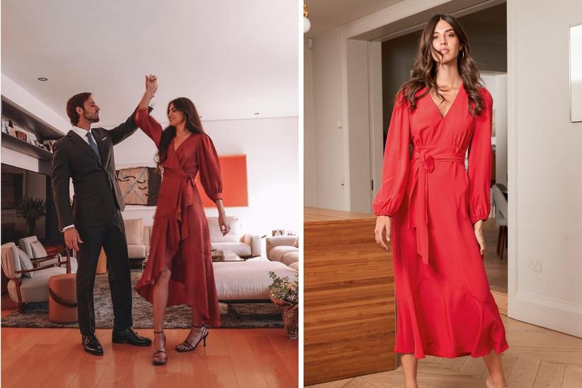 vestido de invitada cruzado en color rojo para una boda de estilo informal