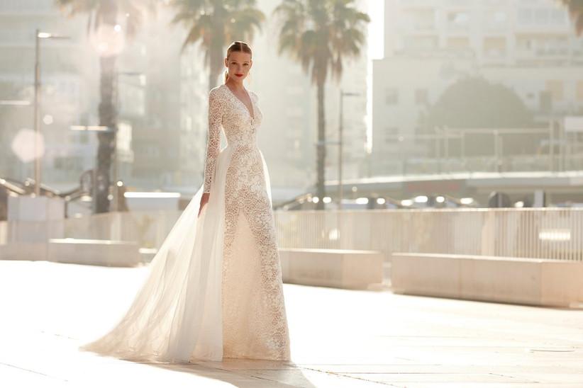 vestido de novia de la colección Brida de Manu García 2022 con manga larga y falda desmontable para una novia moderna