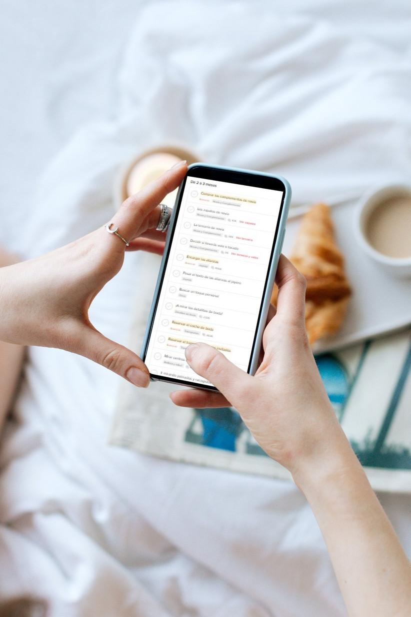 Agenda de tareas online de Bodas.net, ideal para organizar la boda desde casa con el móvil