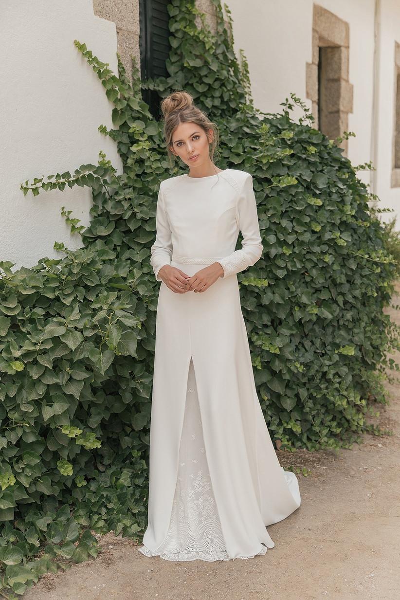 Vestido de novia convertible de la colección 2021 de María Baraza, ideal para llevar el día de la boda