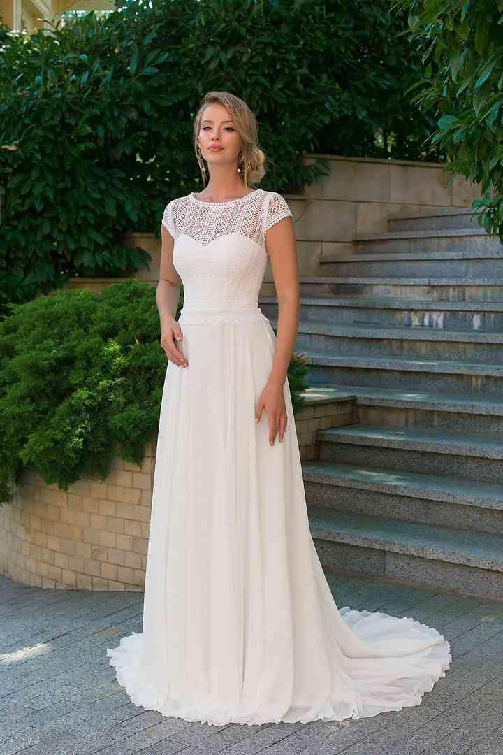 Vestido de novia sencillo manga corta Angela Bianca