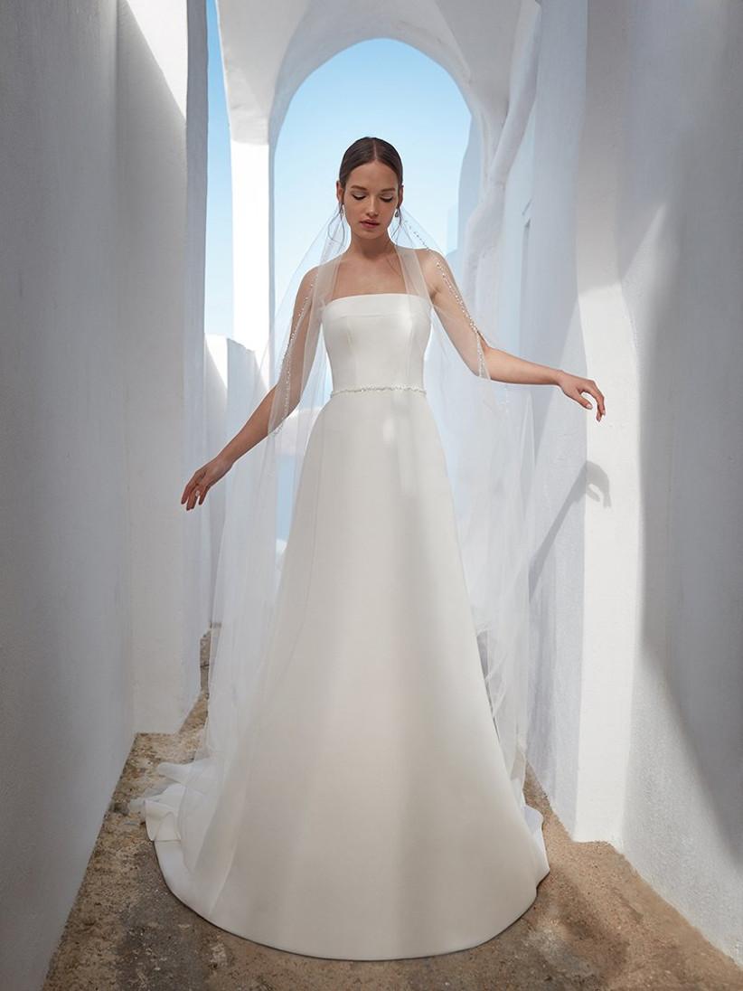Vestidos de novia con escote palabra de honor para el día de la boda