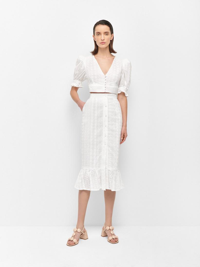 Vestido blanco de dos piezas de ala colección Fleur d'Été by TFP, de Tamara Falcó
