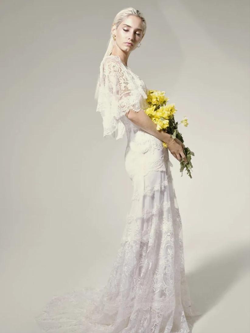 vestido de novia largo Ernestine de Yolancris 2021 de estilo boho y romántico