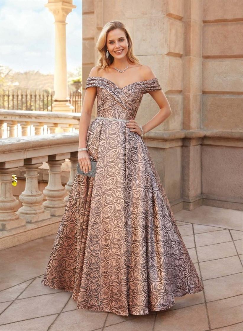 Vestido de fiesta largo con estampado floral XL de Susanna Rivieri