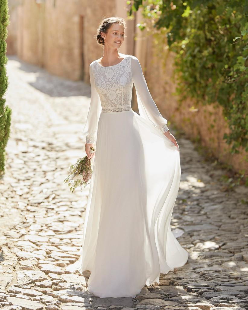 Vestidos de novia con escote redondo para el día de la boda