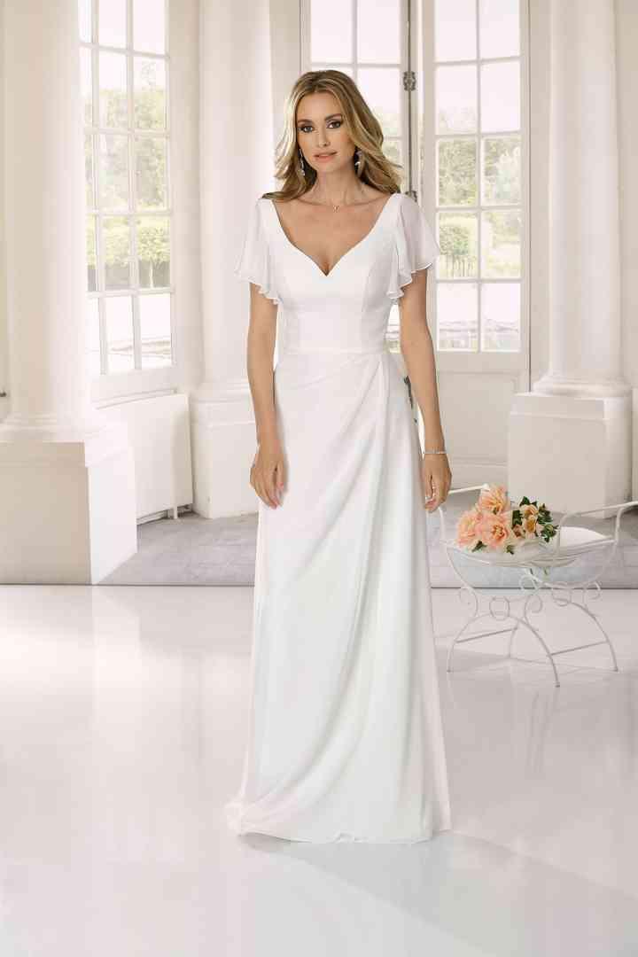 Vestido de novia sencillo con manga corta y falda drapeada Lady Bird