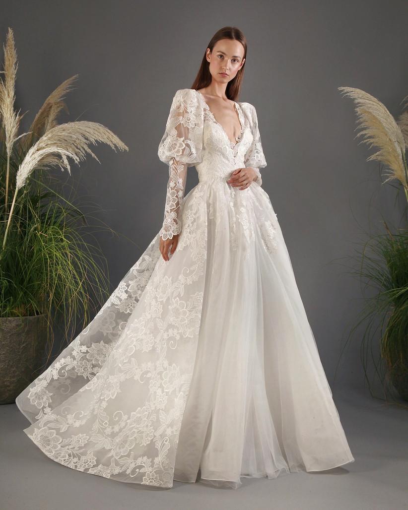 vestido de novia princesa de Gemy Maalouf con mangas abullonadas