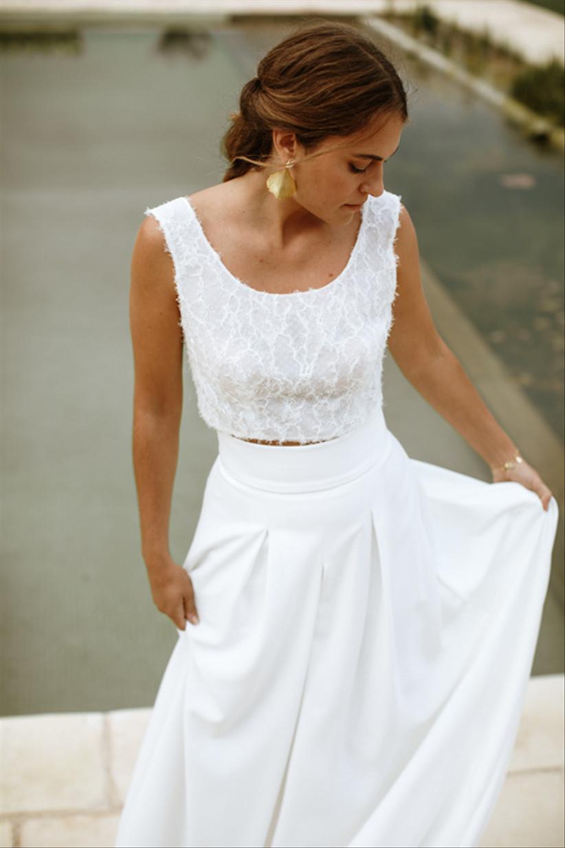 Vestido de novia de dos piezas de L'Avetis 2021, formado por los modelos Juno y Candela