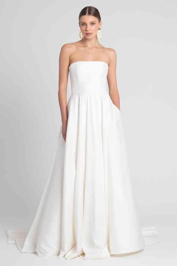 Vestido de novia sencillo con escote palabra de honor Jenny Yoo