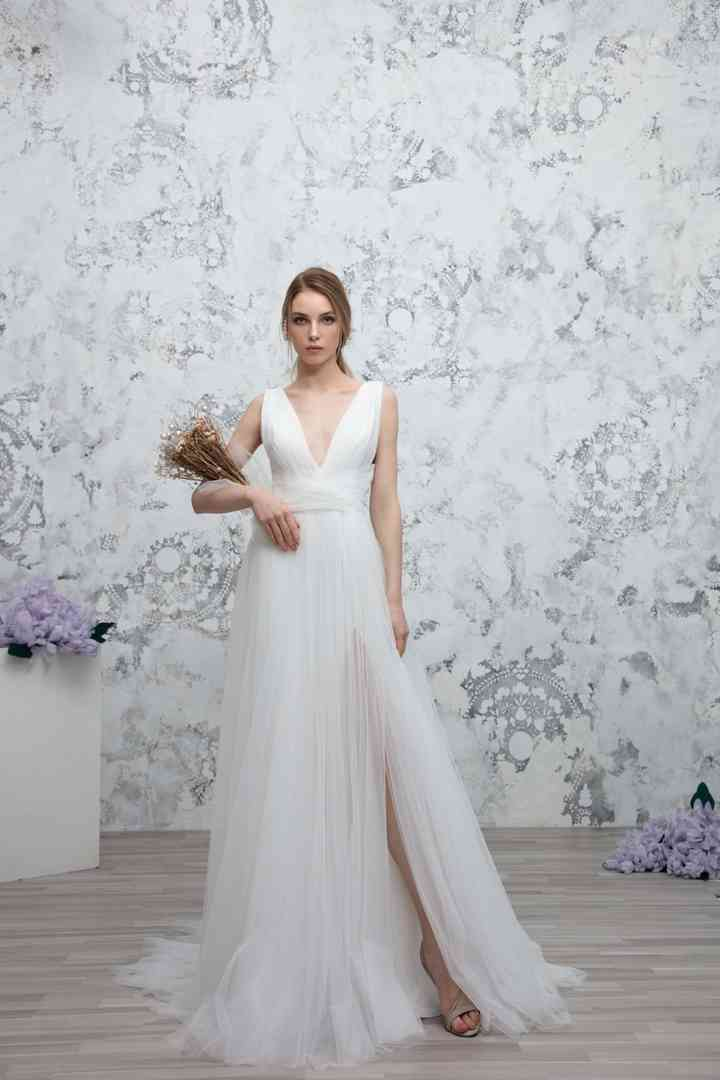 Vestido de novia sencillo con falda de gasa Gemy Maalouf
