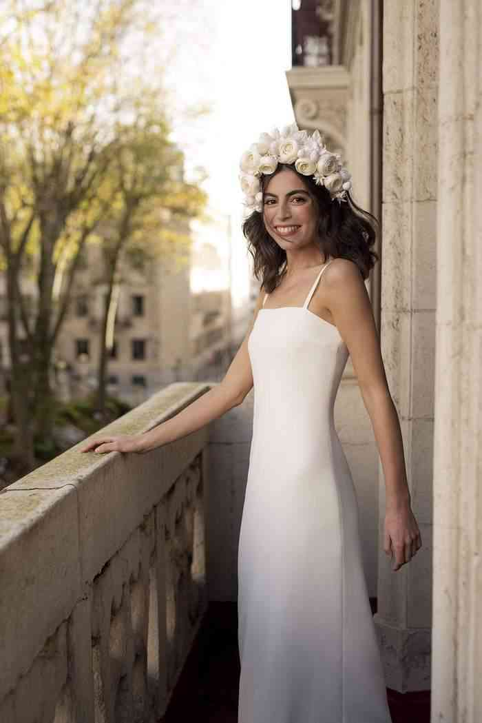 Vestido de novia sencillo con tirantes Sophie et Voilà
