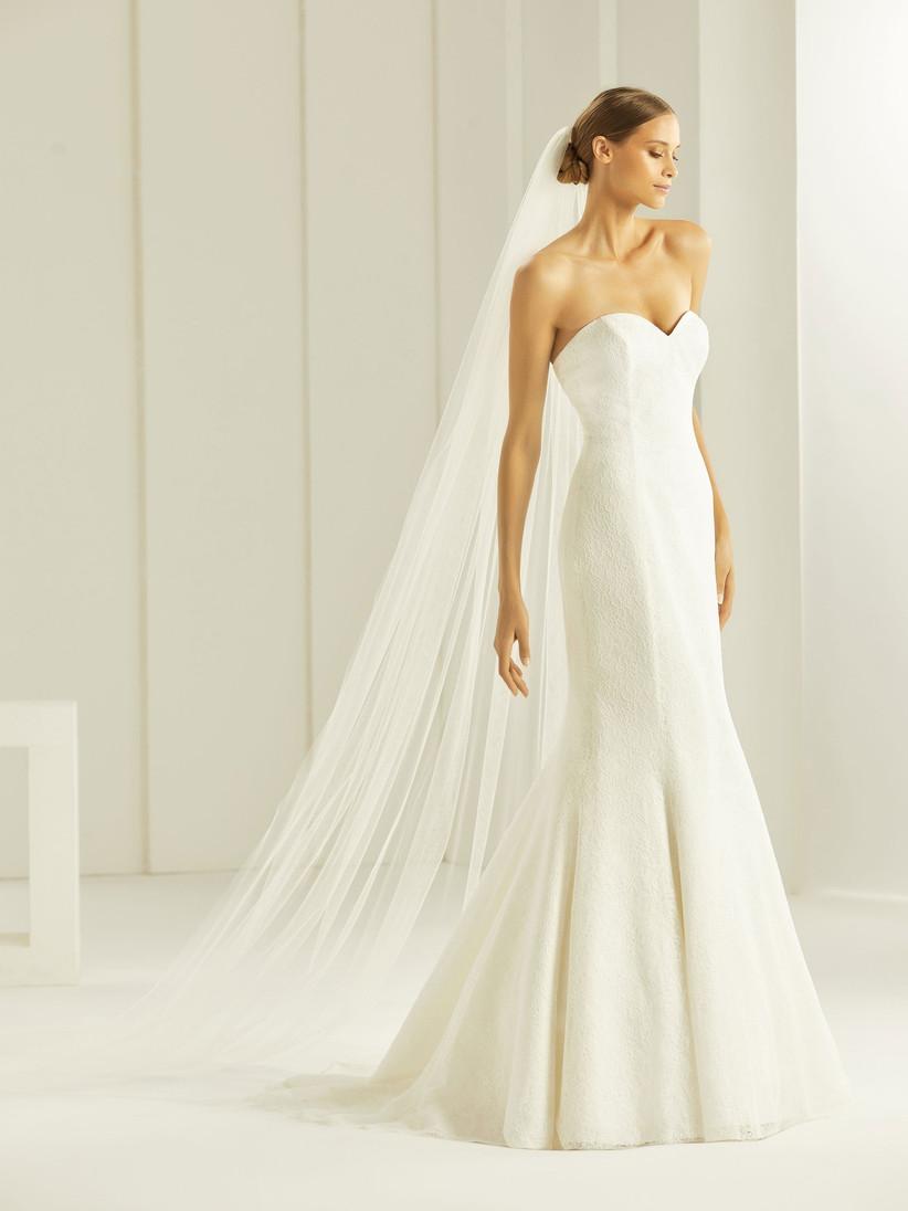 velo de tul largo de Bianco Evento sin ningún tipo de ornamento, ideal para la boda