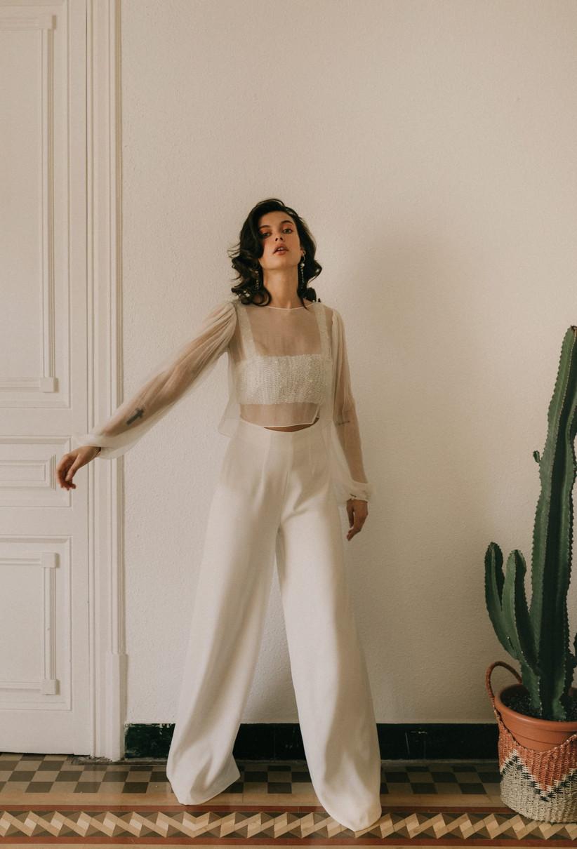 Vestido de novia Otaduy 2021 de tres piezas con pantalón