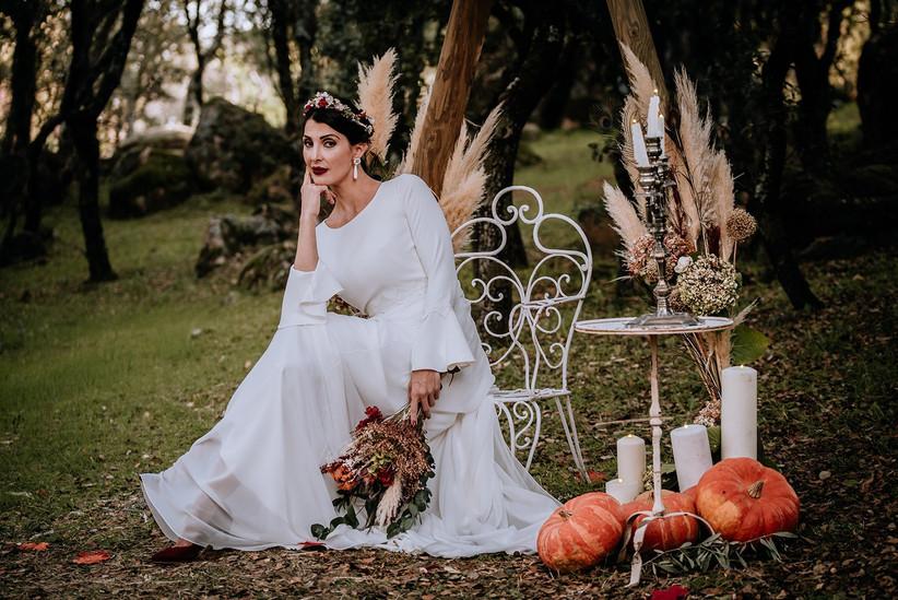 Decoración de Halloween con calabaza de Halloween para el día de la boda