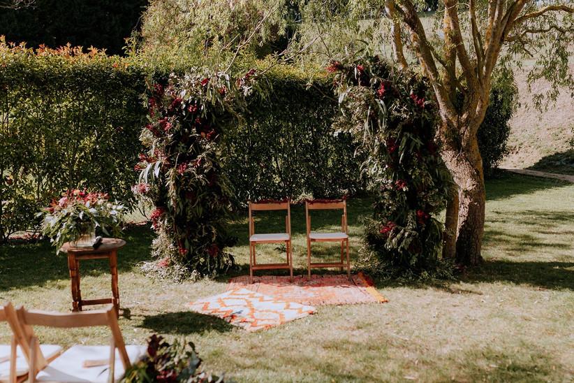 Ceremonia civil al aire libre el día de la boda