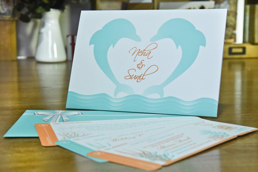 Invitación de boda de verano con delfines