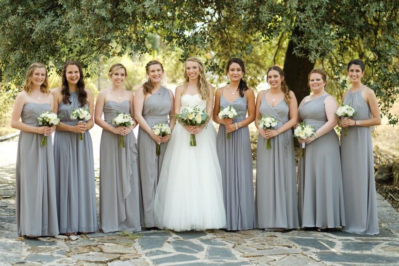 Damas de honor con la novia el día de la boda